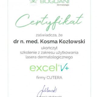Certyfikat - Laser Cutera Excel V+ dr Kosma Kozłowski